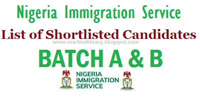 Nigeria Immigration Shortlisted Successful Candidates 2017/2018