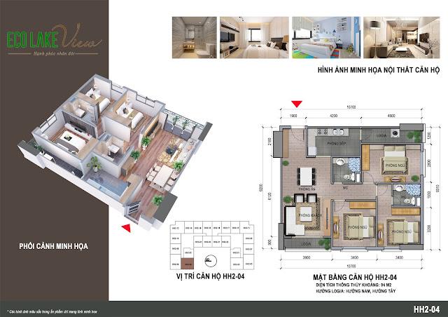 Thiết kế căn 04 tòa HH2 ECO LAKE VIEW