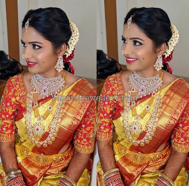 Bride in Diamond Necklace Ramparivar Antique Set