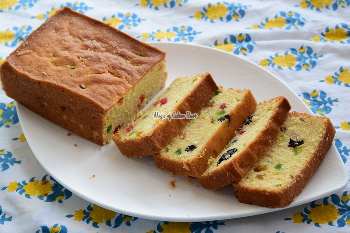 Eggless Tutti Frutti Cake - Tea Time Fruit Cake