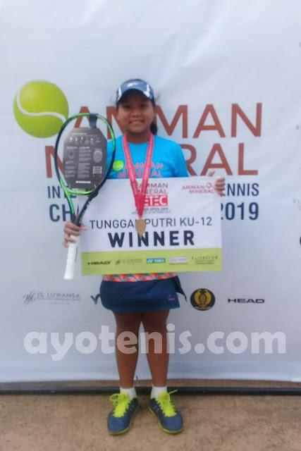 Berlatih Mandiri, Dara Imut asal Bekasi Sabet Gelar Juara Kejurnas Tenis Amman Mineral DETEC Jr Open 2019