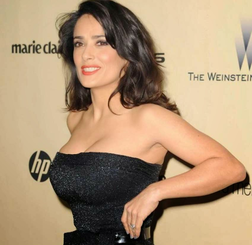 Salma Hayek Hot Black Dress at Golden Globe Awards