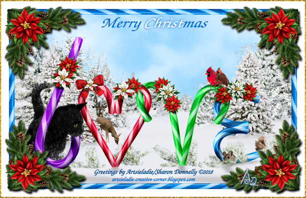 Christmas Card Candy Cane Love by/copyrighted to Artsieladie