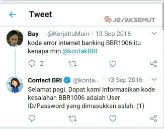 Kode Kesalahan BBR1006 - User ID / Password Salah