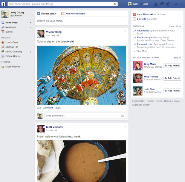 Facebook new interface, facebook, social media, facebook news flow