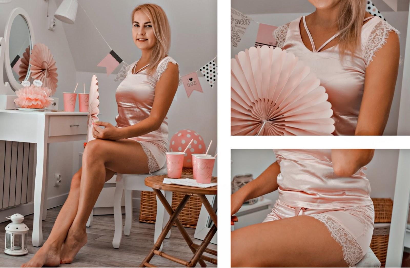 Dwuczęściowa piżama pudrowy róż