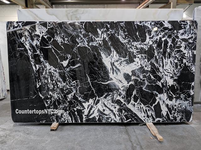 Grand Antique D'Aubert Black Marble Slabs