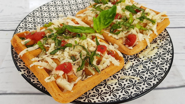 Gofres pizza veganos