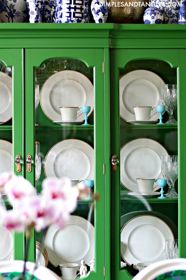 blue opaline glass, cordial glass, green china cabinet