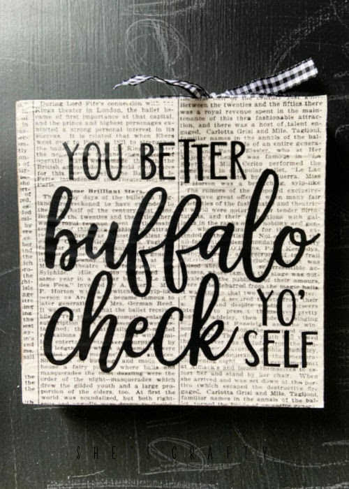 Buffalo check sign from dollar store supplies