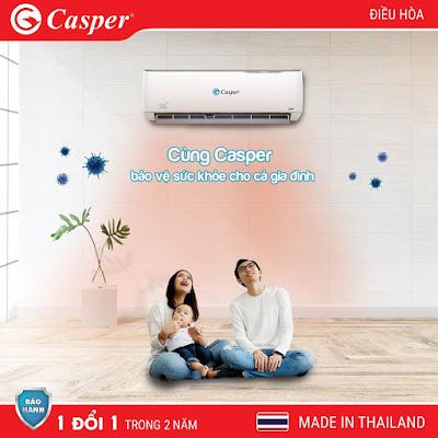 ĐIỀU HÒA CASPER 12000 BTU 2 CHIỀU INVERTER GH-12TL32 NÓNG NGAY 60 GIÂY