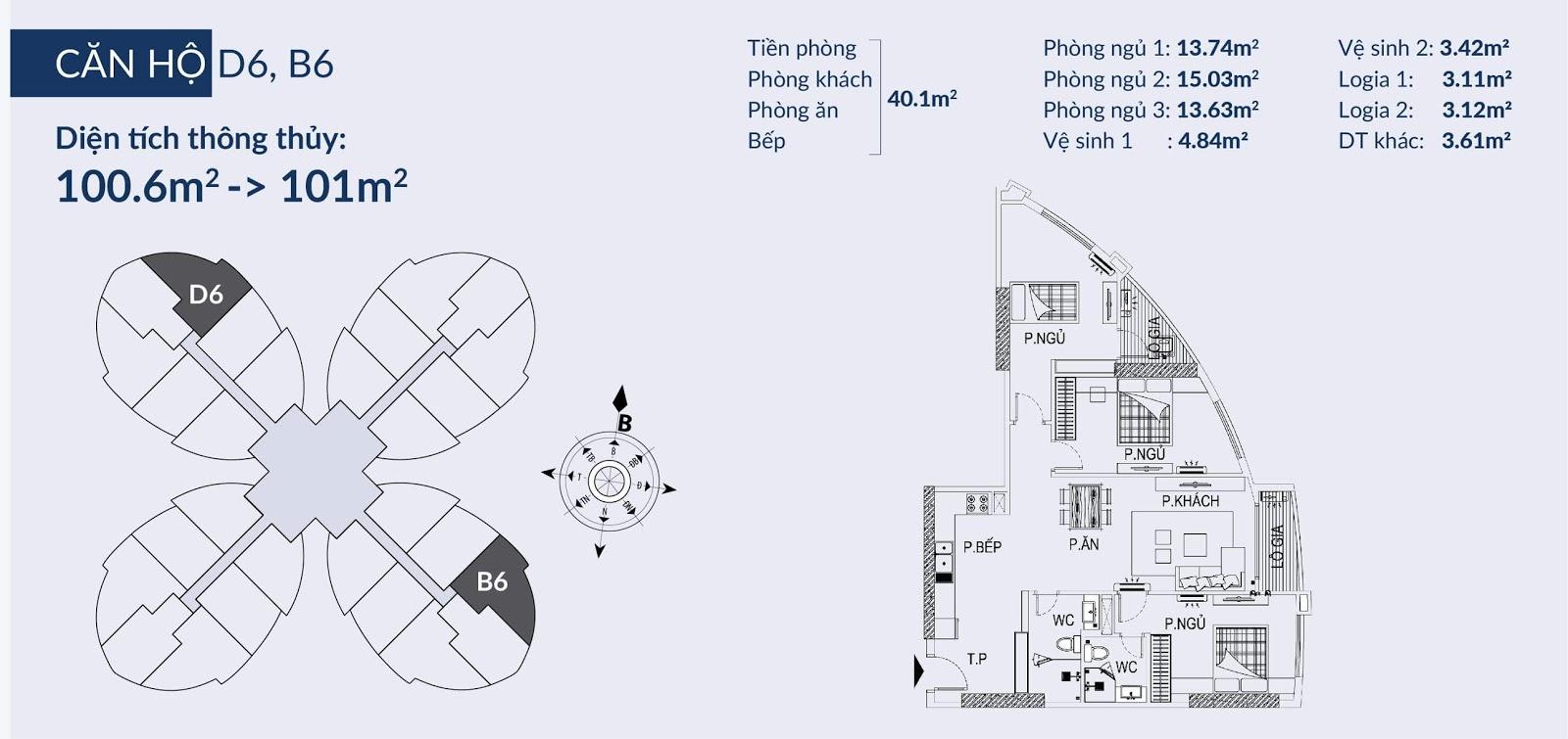 Chi tiết căn hộ D6, B6 dự án 360 Giải Phóng