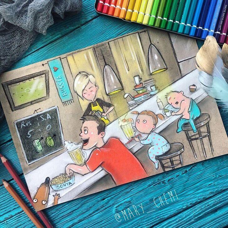 Мама Двоих Маленьких Детей Нарисовала Свои Будни