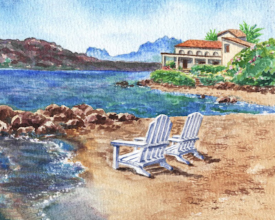 Two White Chairs At The Beach Old Town Cannigione Italy Sardinia Island Mountains Watercolor painting by the artist Irina Sztukowski