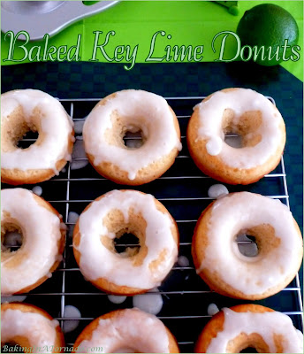 Baked Key Lime Donuts have a refreshing citrus flavor. Bake, glaze and enjoy!| Recipe developed by www.BakingInATornado.com | #recipe #donuts