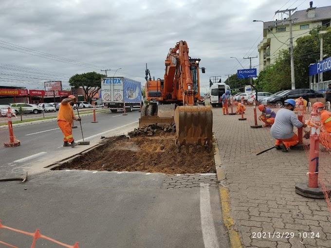 GRAVATAÍ | Retomadas as obras de revitalização da avenida Dorival Cândido Luz de Oliveira