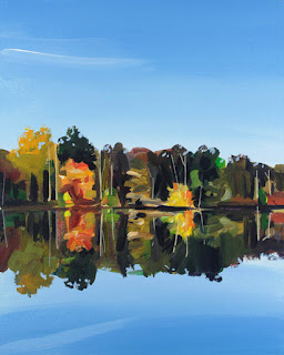 An acrylic painting of Lake Audubon in fall.