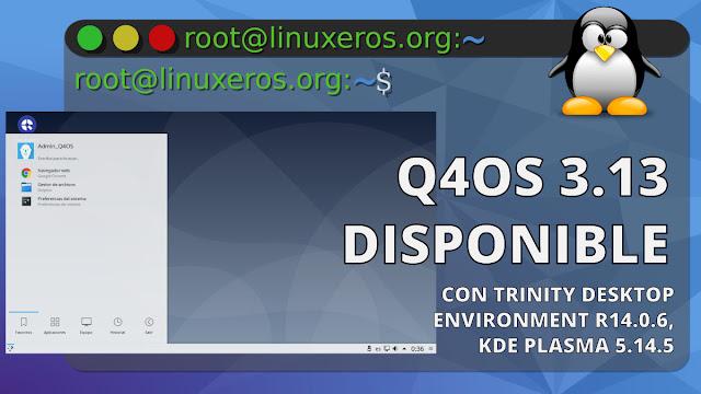 Q4OS 3.13 LTS, con Debian 10.7, KDE Plasma 5.14.5 y TDE R14.0.6