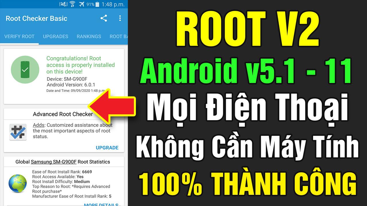 Tool Root V2 mọi điện thoại Android 7,8, 9... 100% thành công không cần máy tính 2021