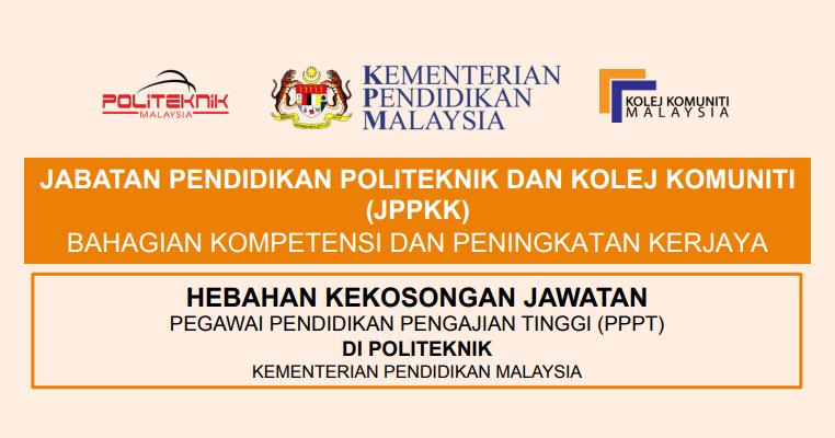 Jawatan Kosong Jabatan Pendidikan Politeknik Dan Kolej Komuniti Jppkk Jobcari Com Jawatan Kosong Terkini