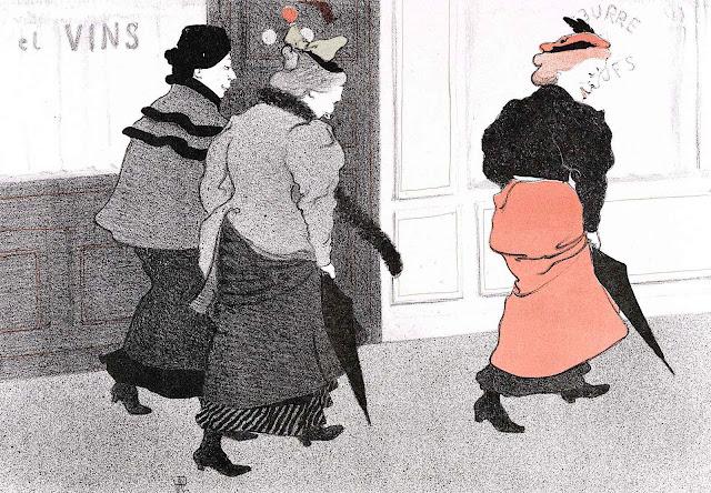 René-Georges Hermann-Paul, three walking laughing women on the sidewalk