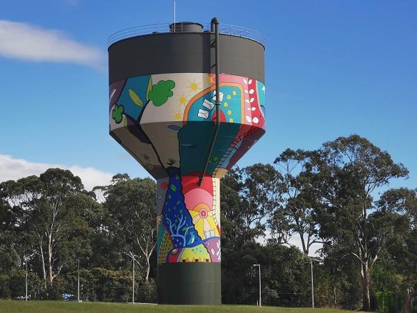 Painted water tower in Denham Court by Danielle Mate Sullivan