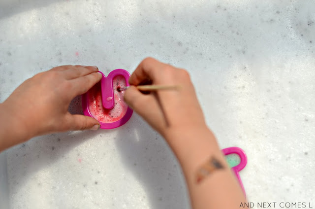 Prewriting sensory activity for toddlers and preschoolers using soap foam from And Next Comes L