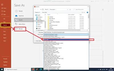 click Save As, click Browse, select PDF