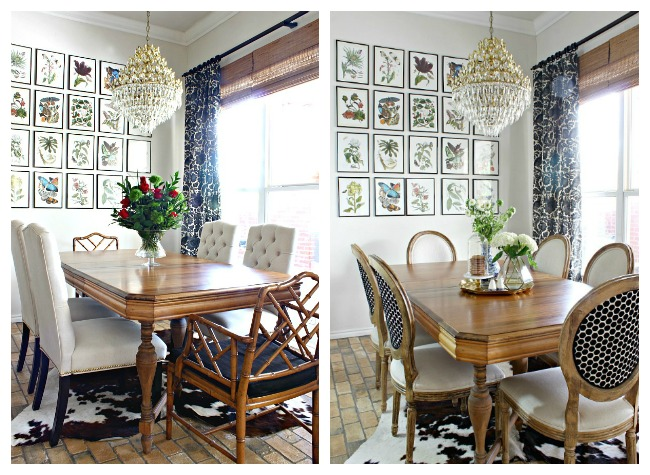 tufted dining chairs, botanical gallery wall, chinese chippendale chairs, cowhide rug, vintage brass chandelier