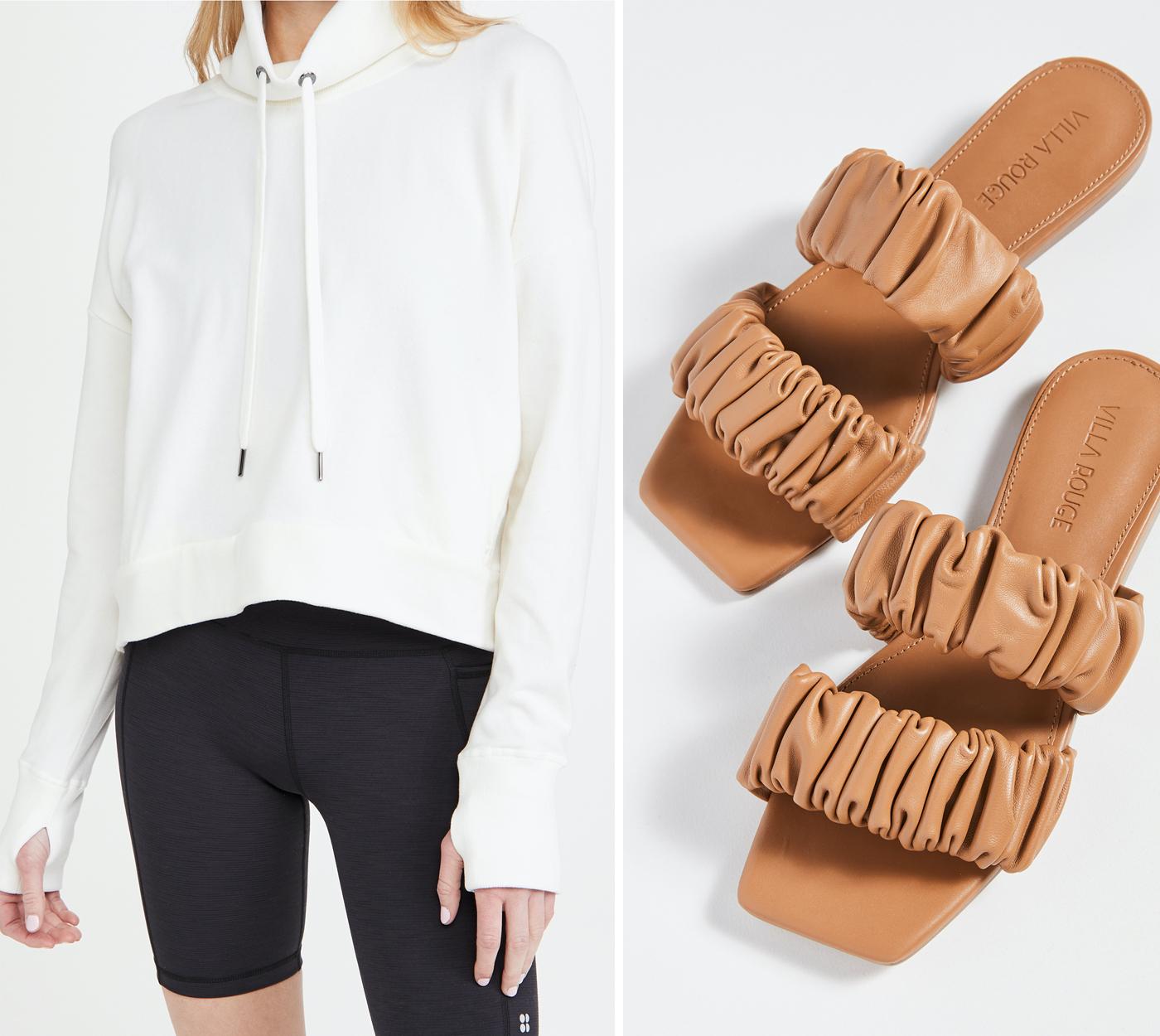 sweaty betty sweatshirt and summer it sandals