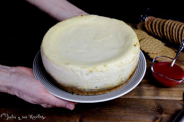 Tarta de queso cremosa al horno, sin harina. Julia y sus recetas