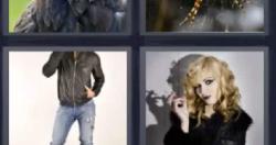 4 fotos 1 palabra chaqueta negra