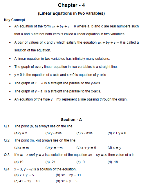 ,Linear equations in two variables,Light ,objective questions  test,Probability  Questions  mcq,
