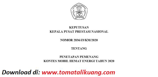 sk pemenang kontes mobil hemat energi kmhe tahun 2020 pdf tomatalikuang.com