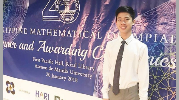 Yu at the 20th Philippine Mathematical Olympiad 2018. Image: The Summit Express