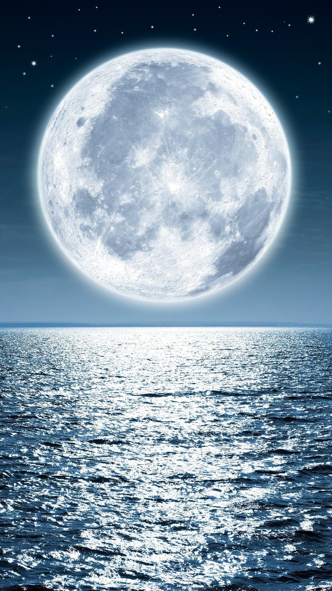 Papel De Parede Lua Cheia No Mar