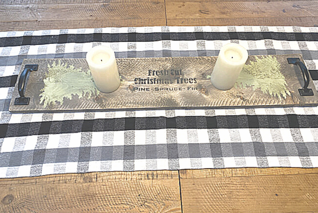 table runner on farmhouse table