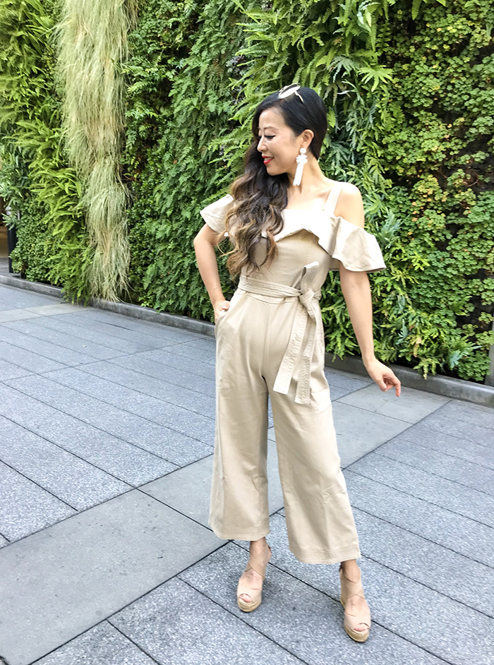 banana republic off shoulder jumpsuit