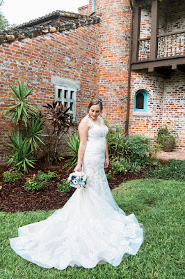 Bride with beautiful dress at Casa Feliz wedding venue