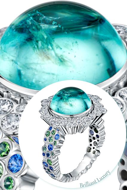 Andrew Geoghegan Cannelé Délire turquoise paraiba tourmaline ring #brilliantluxury