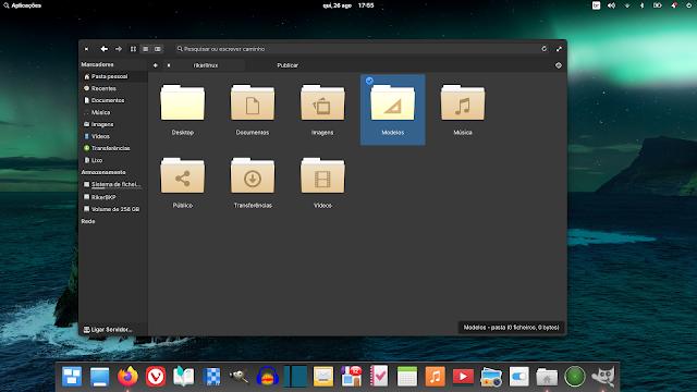 gerenciador de arquivos do Elementary OS 6 que permite navegação com clique único