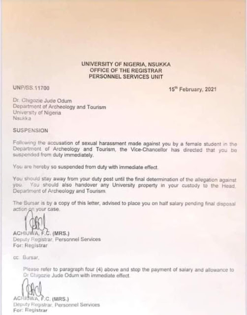 UNN suspends lecturer for impregnating and threatening student
