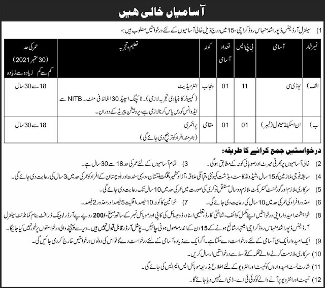 Central Ordinance Depo Rashid Minhas Road Karachi Jobs 2021