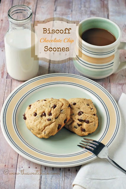 Biscoff Chocolate Chip Scones @www.thesweetchick.com