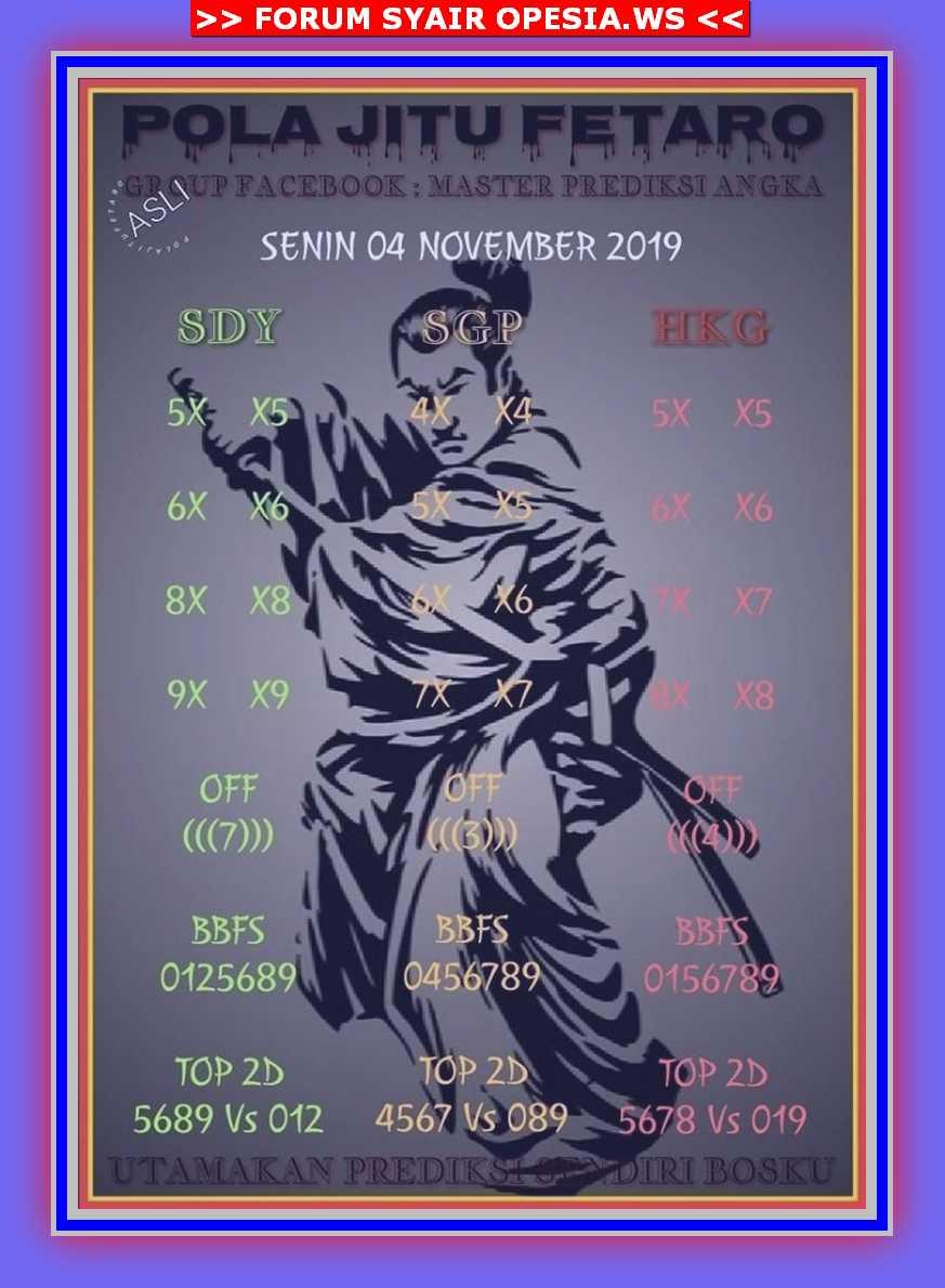 Kode syair Singapore Senin 4 November 2019 34