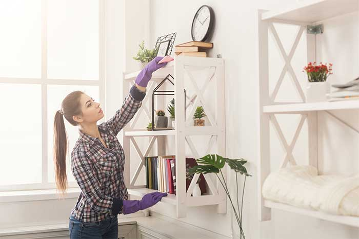 How to reduce dust in your home. Use these life hacks to get rid of excess dust in the air and on surfaces. There are tips for dusting your furniture, surfaces, blinds, and floors to reduce the amount of dust in home. These cleaning tricks are for preventing and getting rid of dust. Use the right tools when cleaning to really get it clean.  Dust from mites and skin cells can cause breathing problems if not dealt with. #dusting #cleaning