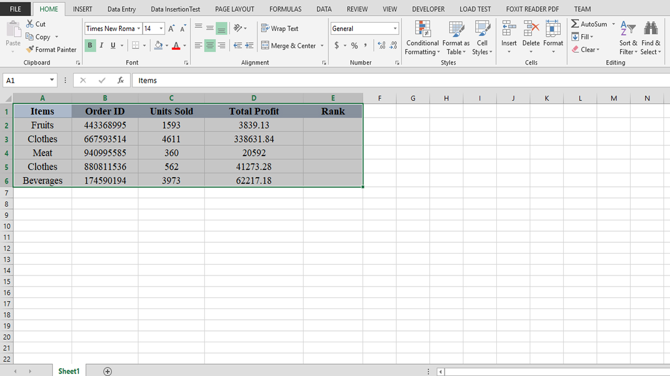 Working With Rank Function in Excel