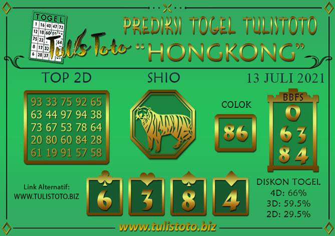 Prediksi Togel HONGKONG TULISTOTO 13 JULI 2021