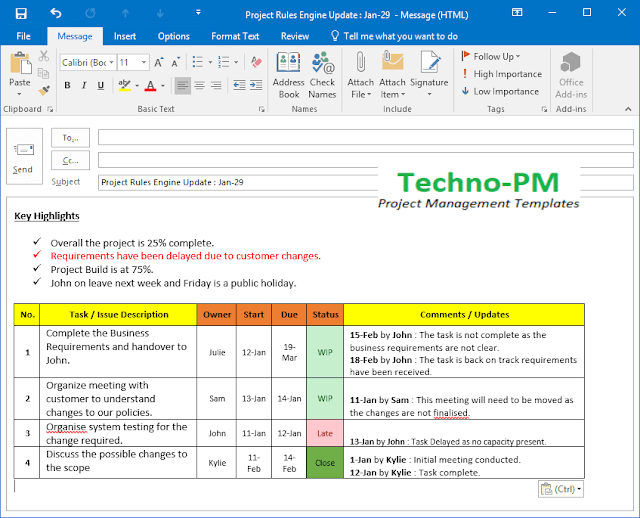 project status update email template