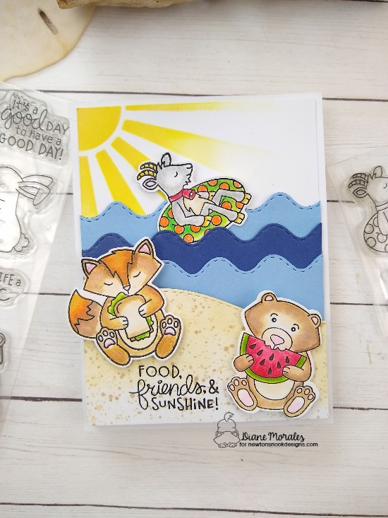 Food, friends, & sunshine by Diane features Floaty Goat, Sunscape, Woodland PIcnic, Land Borders, and Sea Borders by Newton's Nook Designs; #newtonsnook